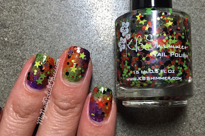 Halloween Nail Art using Superficially Colorful Sweet Treat, Witch You Were Here, Ghouls Night Out and KBShimmer Kiss and Spell