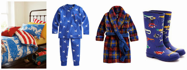 Joules Circus Duvet Cover set, Raiden pyjamas, Roban Dressing Gown and Scary Fish wellies for boys