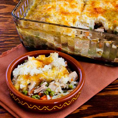 Leftover Turkey (or chicken) Shepherd's Pie with Garlic-Parmesan Cauliflower Topping