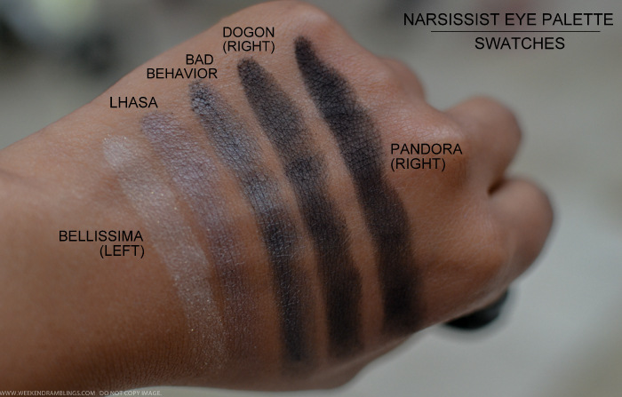NARS Narsissist Eyeshadow Palette Swatches Bellissima Lhasa Bad Behavior Dogon Pandora Indian darker skin makeup beauty blog
