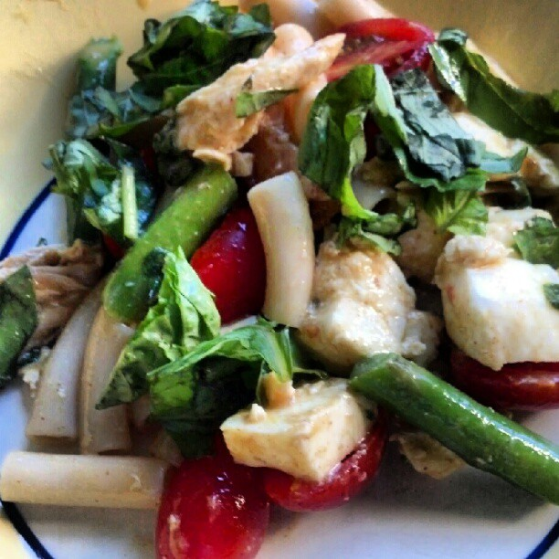 GlutenFree Penne hot salad with basil, asparagus, cherry tomatoes ...