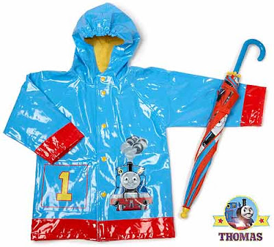 Island of Sodor Thomas the Tank Engine costume train jacket and umbrella outfit wet gear for kids