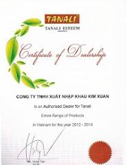 Giấy chứng nhận Phân Phối độc quyền của sản phẩm TANALI