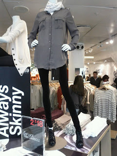Mannequins like Death Camp Chic are abnormally skinny and long-limbed.