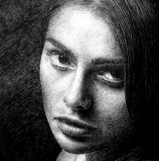 Ojos Tristes Mujer a Lápiz