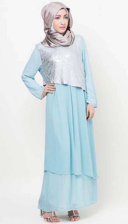 Contoh model baju muslim gamis terbaru untuk hari raya Baju gamis model terbaru untuk remaja