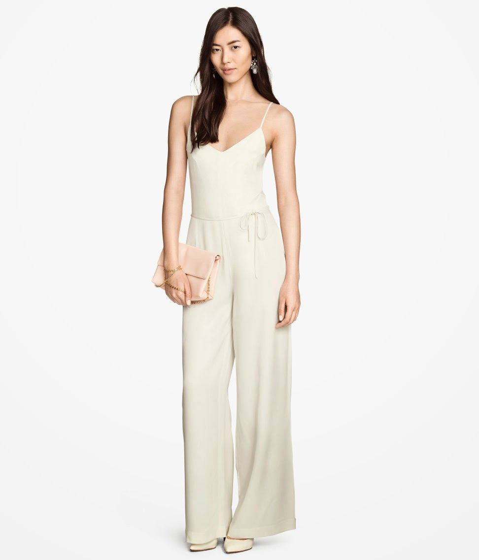 cream jumpsuit, satin jumpsuit, hm jumpsuit,