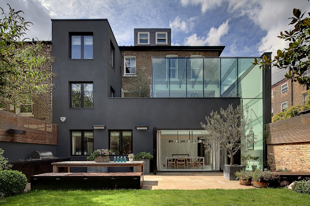 Picture of modern house addition as seen from the backyard