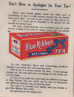 Vintage advertisement for Blue Ribbon, Red Label tea