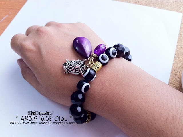 purple-owl-charm-bracelet-stretchable