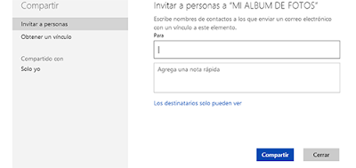 opciones para compartir documentos en Skydrive