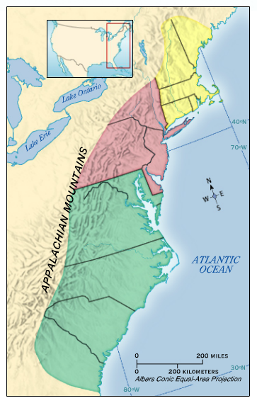 colonial america into three distinct regions The three distinct regions of the british colonies  the king granted land to people in north america, who then formed the colonies  three regions were part of.
