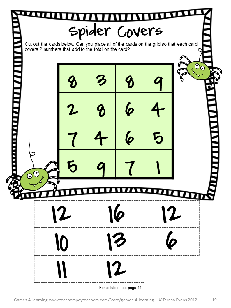 Fun Games 4 Learning October 2014 – Math Brain Teasers Worksheet