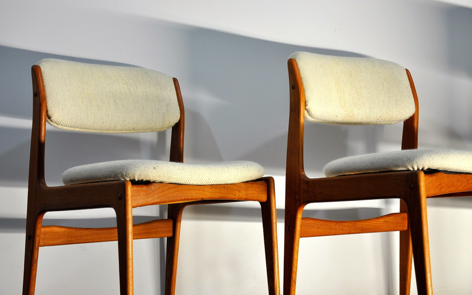 SELECT MODERN: Set of Four Erik Buch Style Teak Dining Chairs