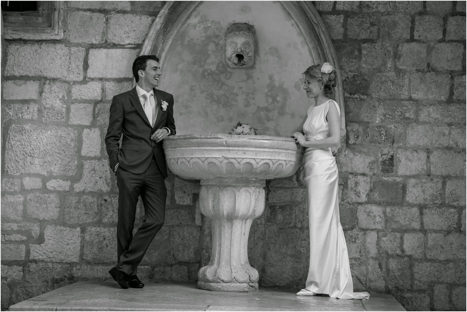 Black and white wedding photography, Dubrovnik