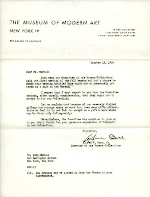 Rejection letter from Museum of Modern Art to Andy Warhol.
