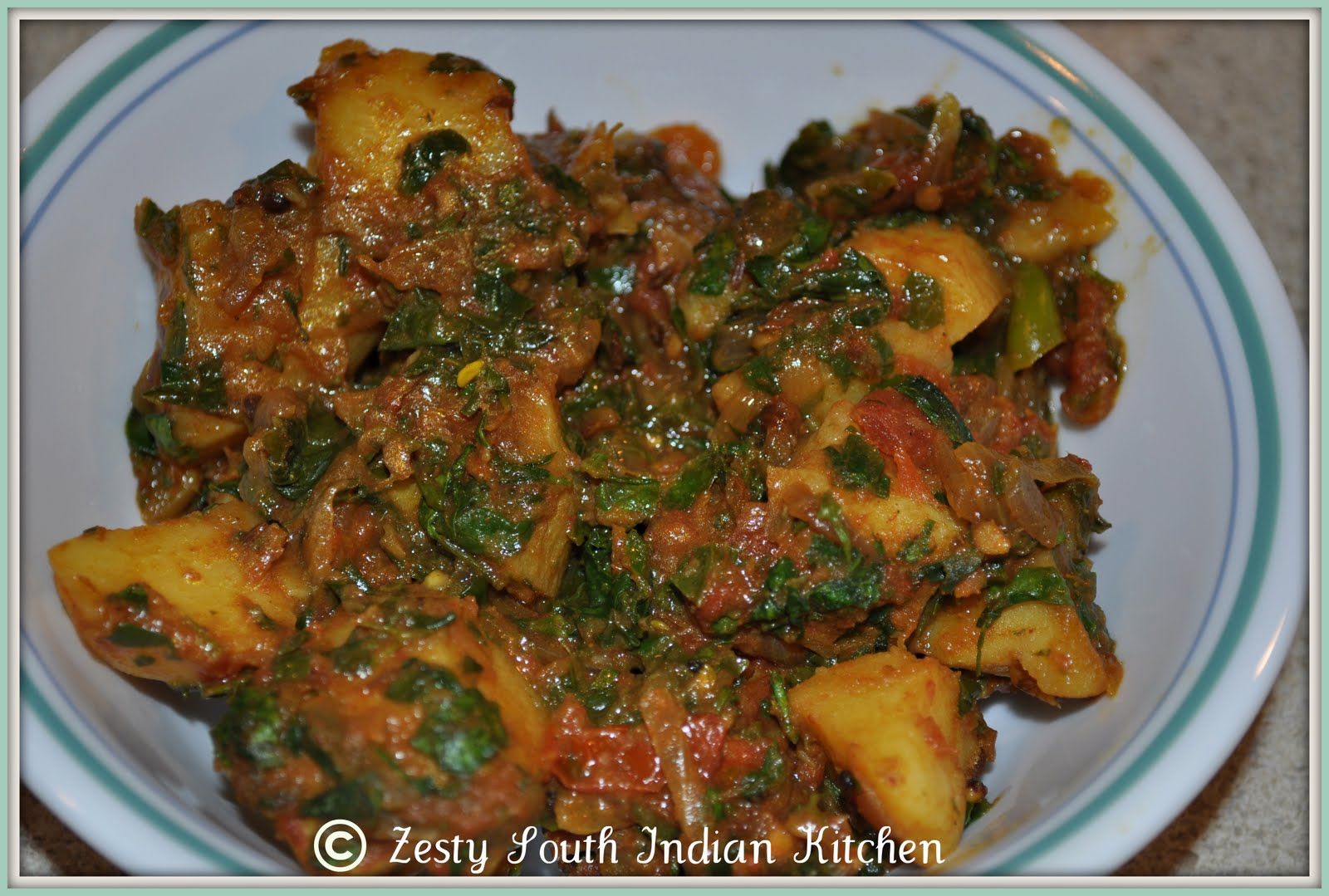 Aloo Methi Masala/ Potato and Fenugreek Leaves Cooked in Spicy Gravy ...