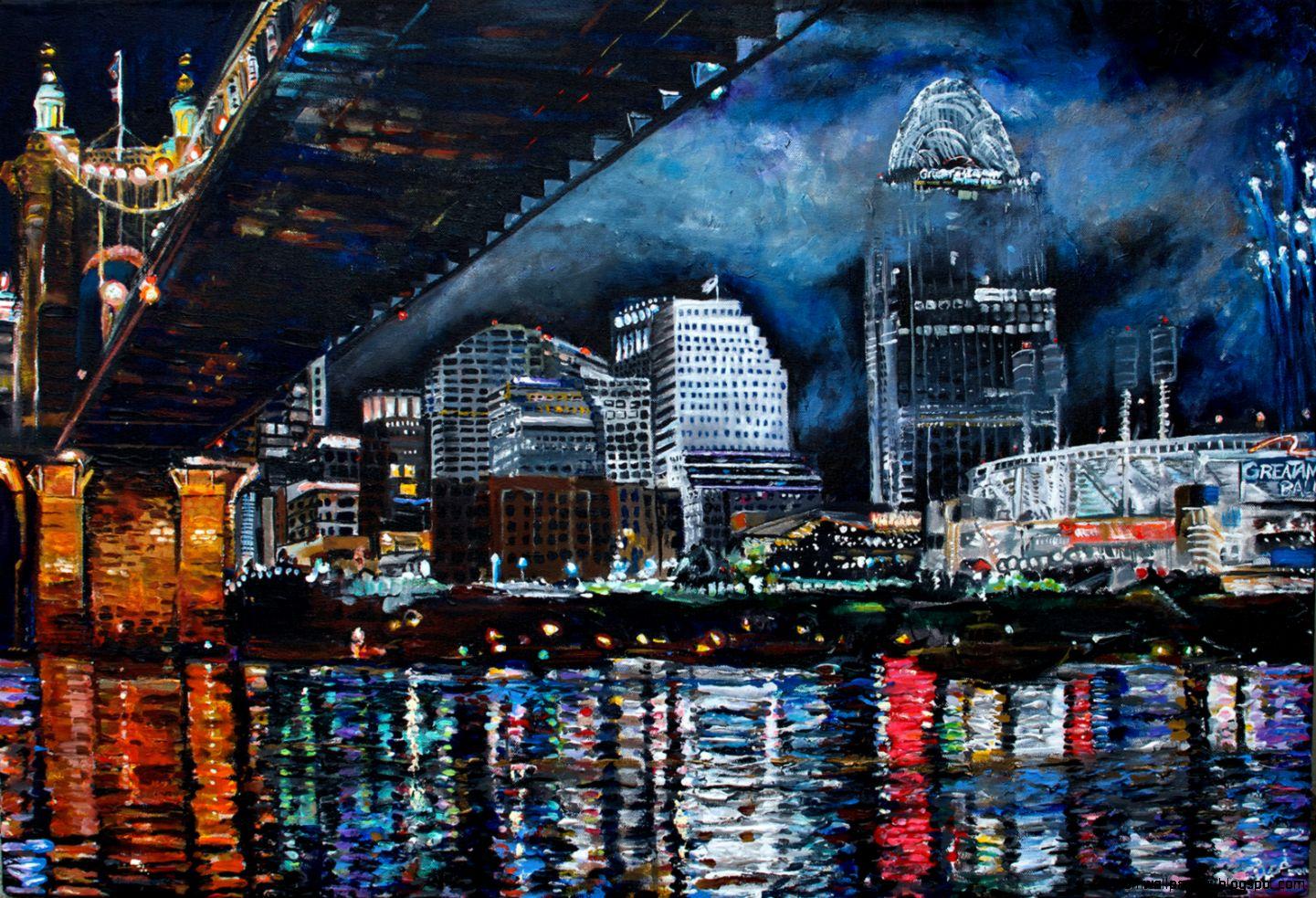 Cincinnati skyline painting   Fine Art Design