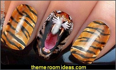 TIGER NAIL ART WRAPS WATER TRANSFERS STICKERS DECALS