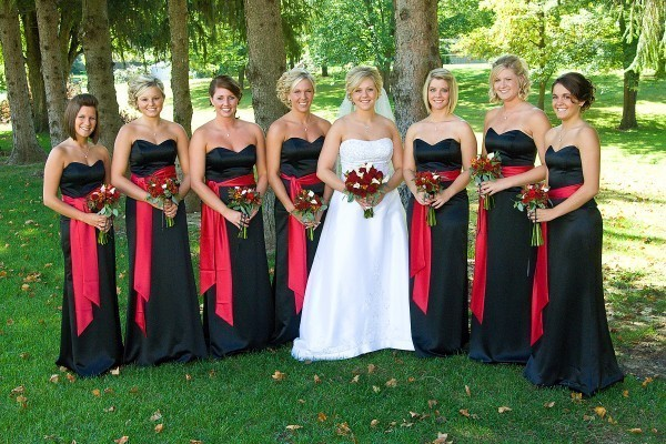 black bridesmaid dresses with red sashes