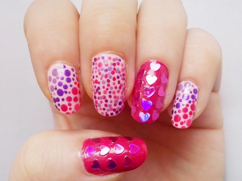 31DC2014 Day 11: POLKA DOTS - Matching Manicure: Valentine's Day Nails