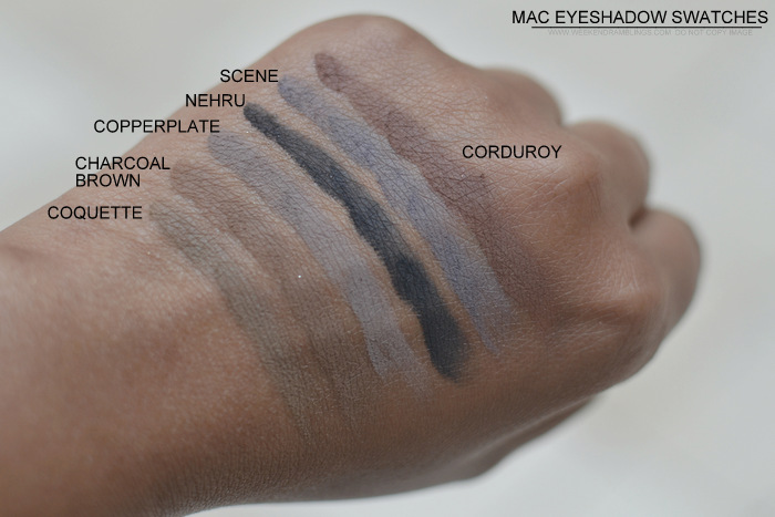 MAC Eyeshadow swatches darker Indian skin tone nc45 must have best neutral makeup beauty blog coquette charcoal brown copperplate nehru scene corduroy