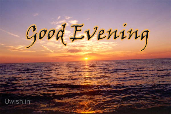 Good evening wishes and greetings with beautiful sunset.