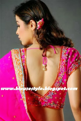 embroidery pink colour back hook blouse
