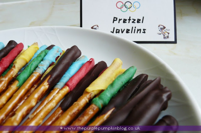 Pretzel Javelins for an #Olympics Party at The Purple Pumpkin Blog