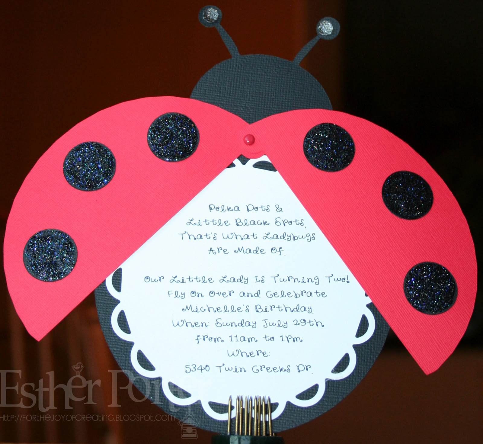 For The Joy of Creating: Ladybug Birthday Invitation