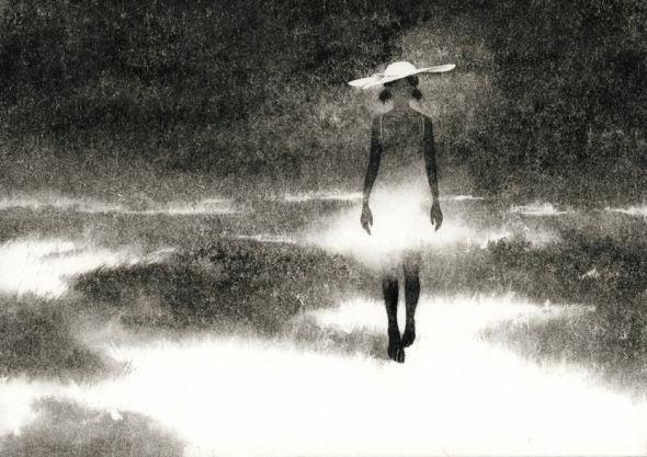 Megumi Tsuji ilustrações singelas preto e branco mulheres japonesas luz e sombra