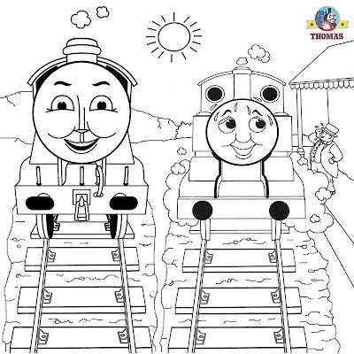 Thomas and Gordon the tank engine train pictures to color in childrens free art printable worksheets