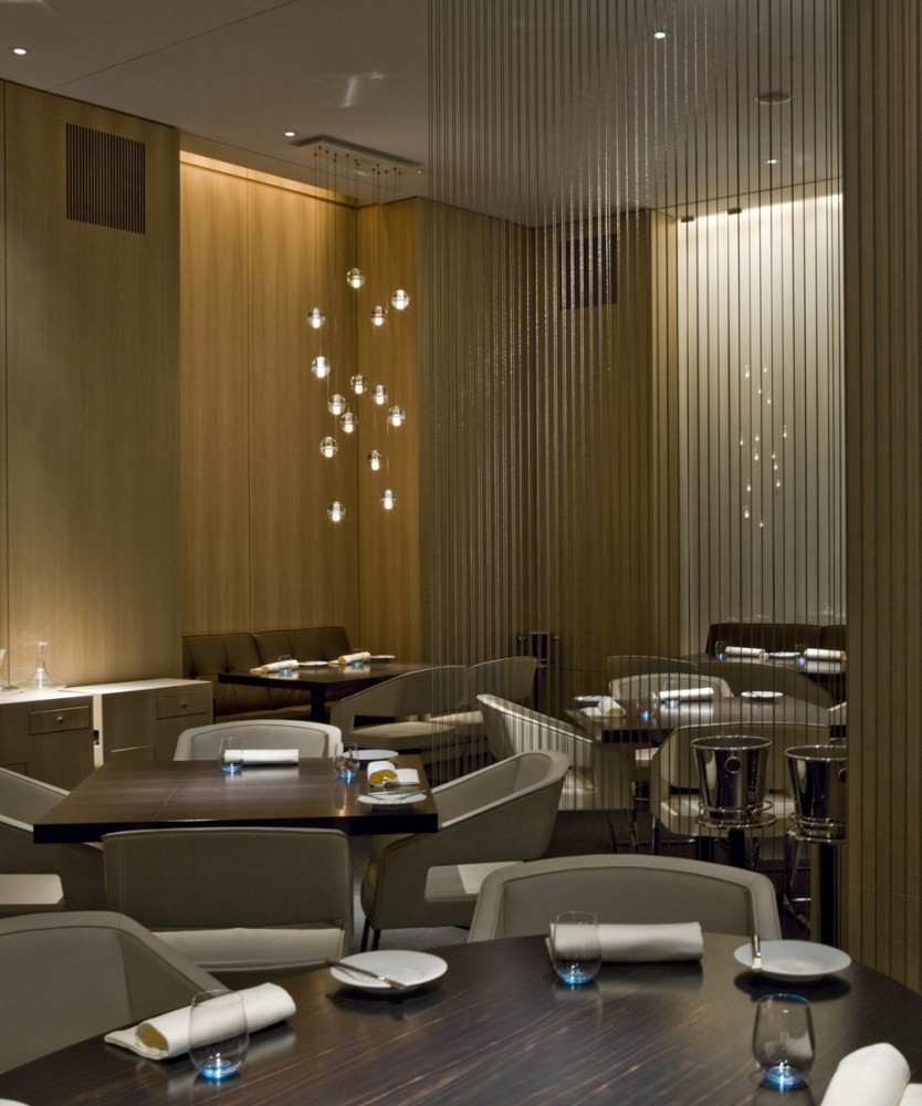 Restaurant interior design grasscloth wallpaper