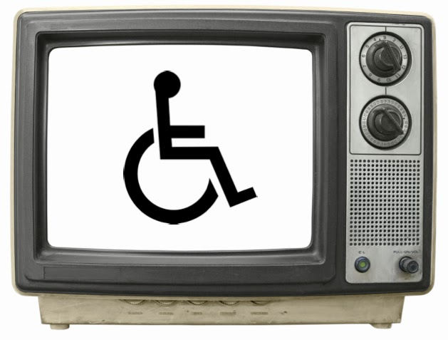 Picture of an old-style TV with the wheelchair symbol on the screen
