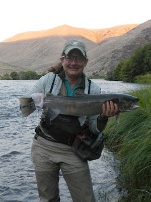 Kat Rollin with her first steelhead on the Deschutes river