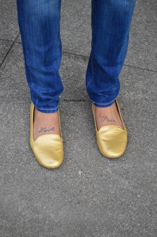 gold loafers close up {who is that girl mo?}