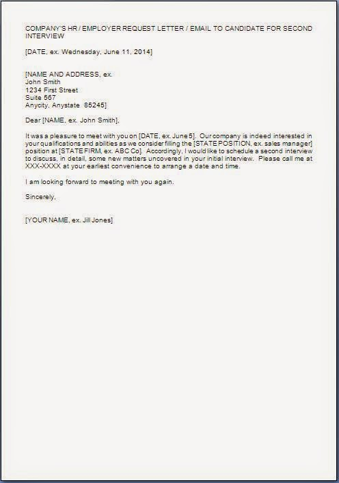 Request Letter Format For Second Interview