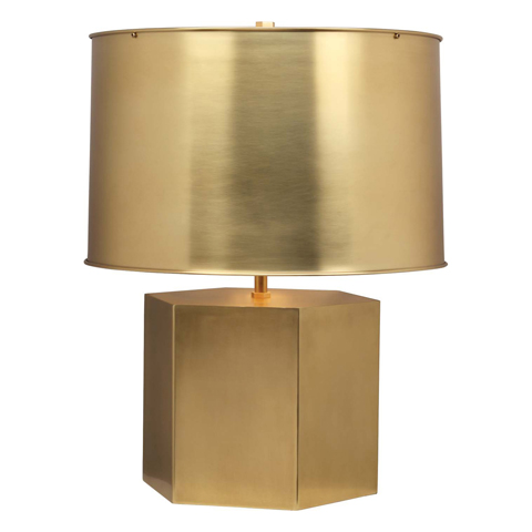 Brass table lamp with matte finish and matching brass shade
