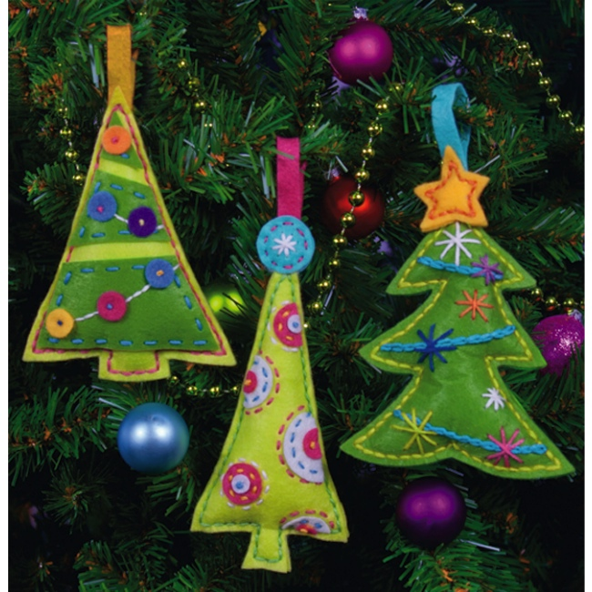 Cheery Tree Ornaments Kit includes everything you need to make 3 felt ...