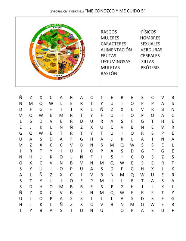Sopa de letras del plato del buen comer