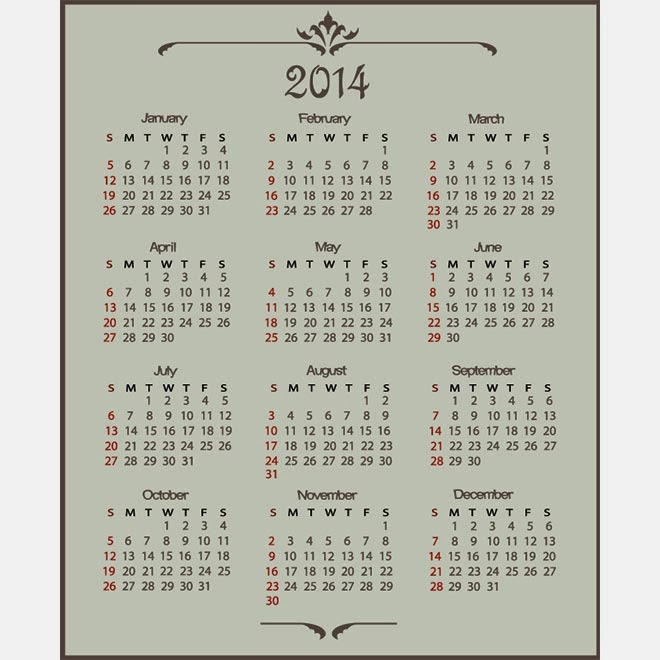 Vintage Calendar Template : Happy new year vector graphics world best free