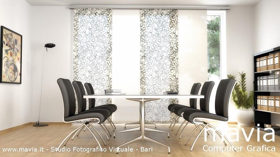 Arredamento di interni ufficio 3d rendering ufficio sala riunione con tenda tecnica a pannelli - Tende sala moderna ...