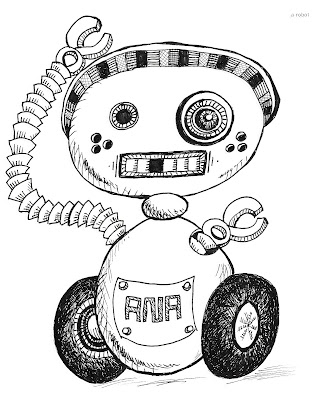 642 Things to Draw 28 - A Robot - Pen and Ink by Ana Tirolese ©2012