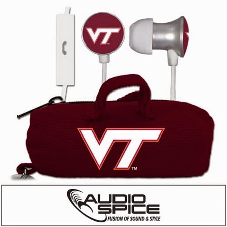 Virgina Tech Hokies NCAA Scorch Earbuds + Mic with Budbag