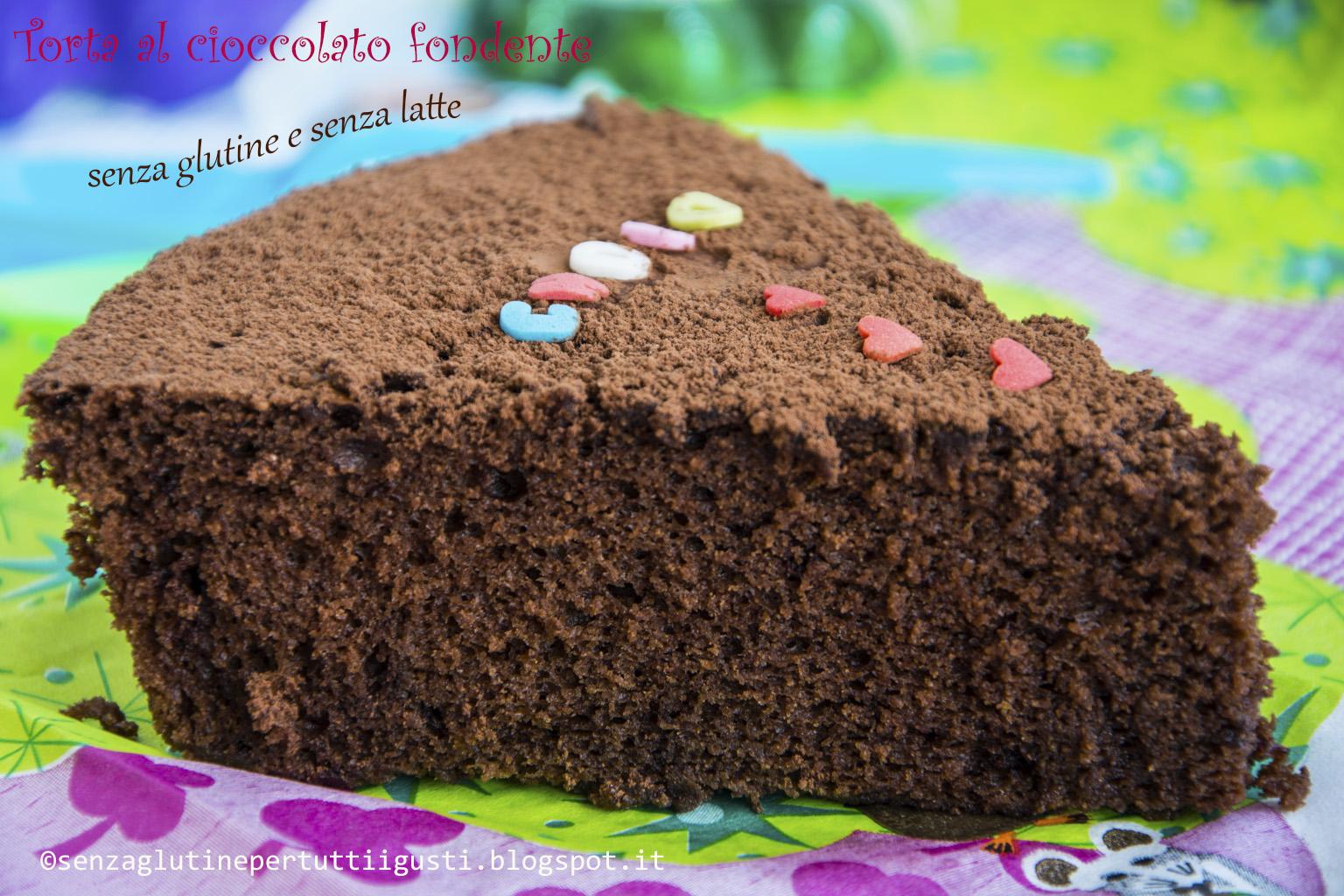 torta al cioccolato fondente senza glutine e senza latte