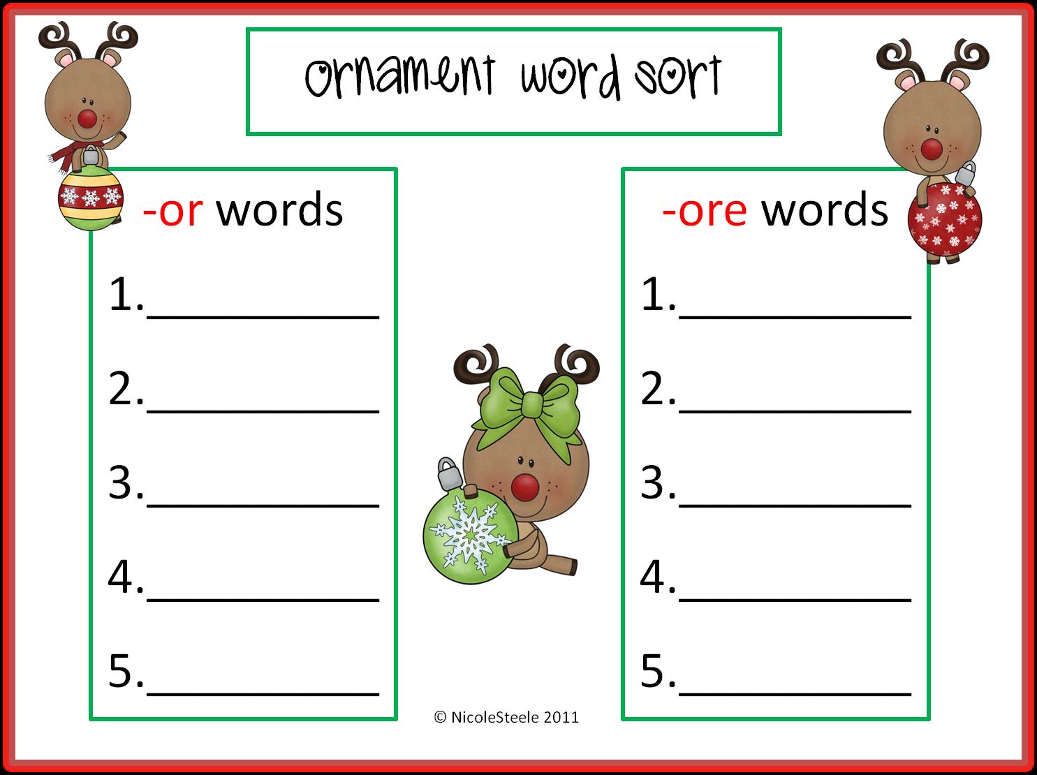 Steele Teaching: Freebie- ornament word sort -or -ore words