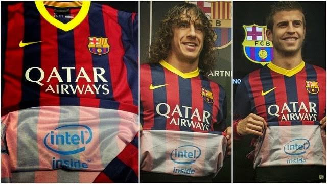 Carles Puyol y Gerard Piqué presentando el acuerdo del FC Barcelona con Intel