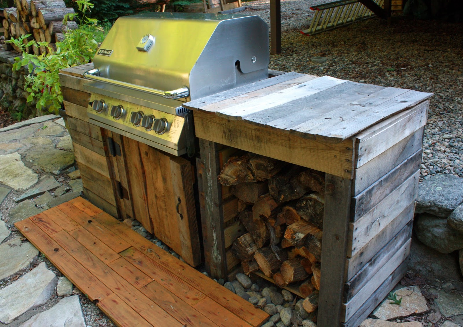 He Also Created A Wooded Plank For The Footing In Front Of The Grill. It  All Really Does Fit Nicely On Our Patio.