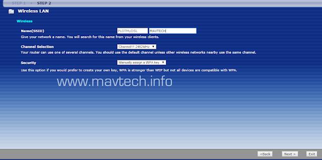 PLDTMyDSL Setup service set identifier (SSID)