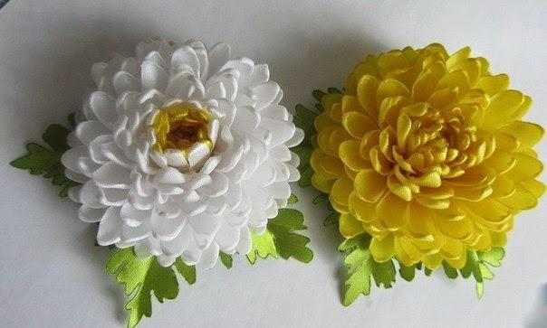 Хризантемы из лент своими руками с пошаговым фото